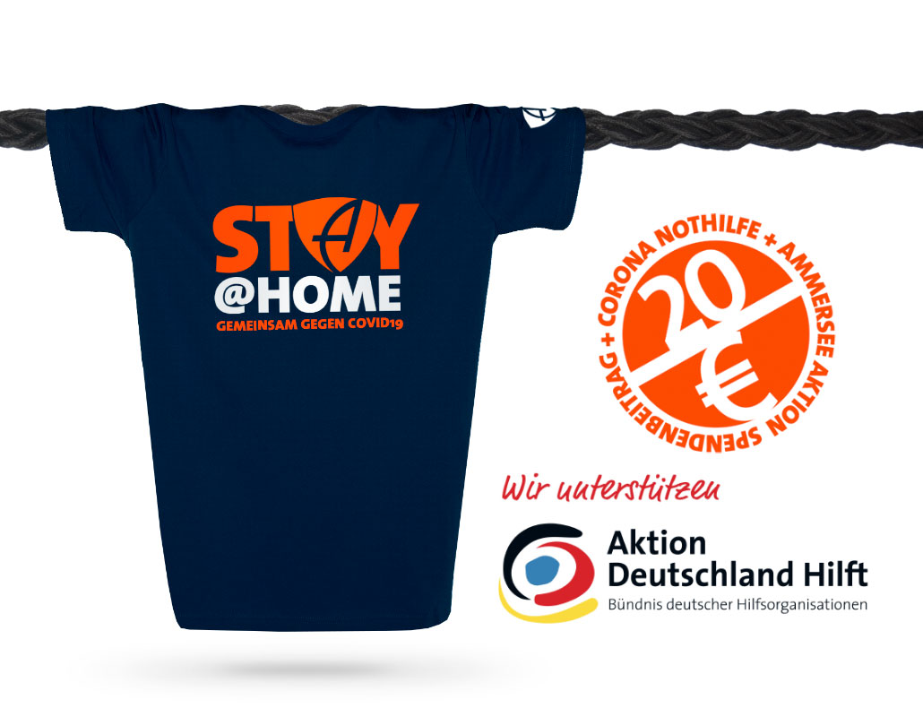 STAY@HOME T-Shirt von Ammersee Bavaria | Aktion Deutschland Hilft | Corona Nothilfe weltweit