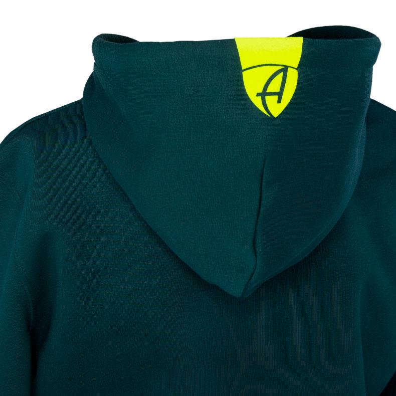 Rückansicht eines dunkelgrünen Kapuzenpullover und seiner Kapuze (Organic Bio Hoodie) mit neon-gelbem Ammersee Design der Modemarke AMMERSEE BAVARIA aus Bayern, Deutschland