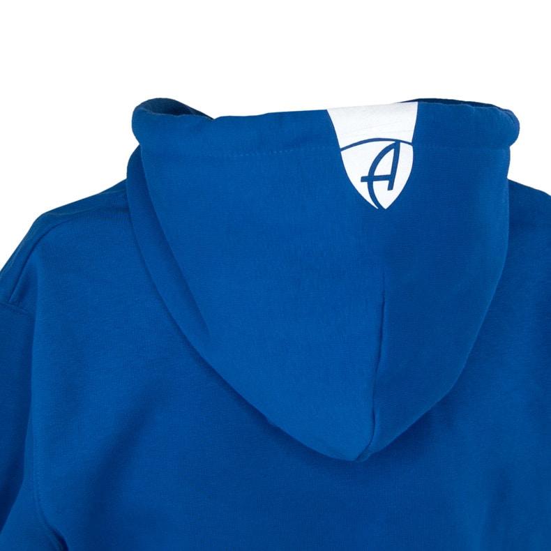 Rückansicht eines blauen Kapuzenpullover und seiner Kapuze (Organic Bio Hoodie) mit weissen Ammersee Design der Modemarke AMMERSEE BAVARIA aus Bayern, Deutschland