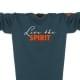 Ausschnitt Vorderansicht eines petrolfarbenen ST Longsleeve T-Shirts aus Bio-Baumwolle (Organic Bio T-Shirt) mit grau-orangem Ammersee Design der Modemarke AMMERSEE BAVARIA aus Bayern, Deutschland