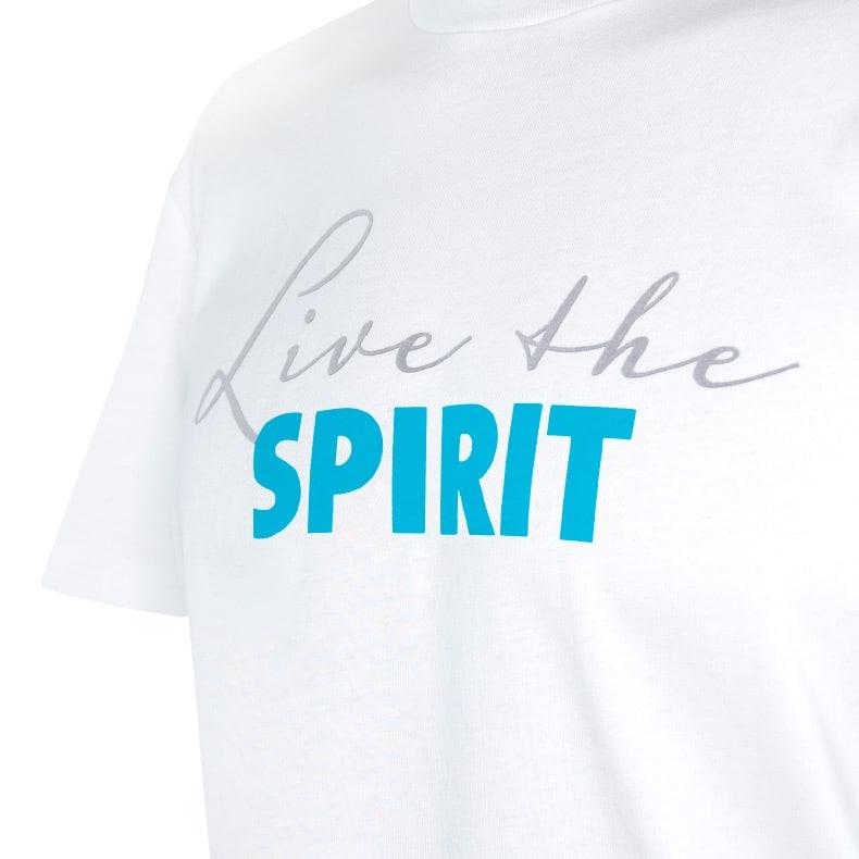Ausschnitt Vorderansicht eines weissen ST T-Shirts aus Bio-Baumwolle (Organic Bio T-Shirt) mit grau-türkisem Ammersee Design der Modemarke AMMERSEE BAVARIA aus Bayern, Deutschland