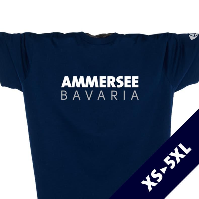 Vorderansicht eines dunkelblauen CT T-Shirts aus Bio-Baumwolle (Organic Bio T-Shirt) mit weiss-grauem Ammersee Design der Modemarke AMMERSEE BAVARIA aus Bayern, Deutschland