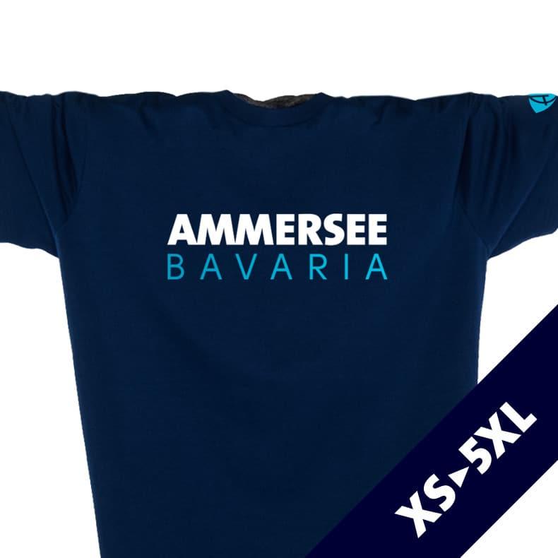 Vorderansicht eines dunkelblauen CT T-Shirts aus Bio-Baumwolle (Organic Bio T-Shirt) mit weiss-türkisem Ammersee Design der Modemarke AMMERSEE BAVARIA aus Bayern, Deutschland