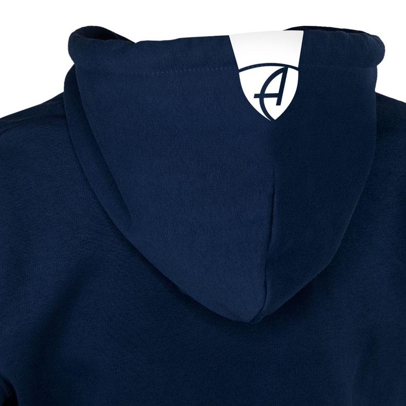 Rückansicht eines dunkelblauen Kapuzenpullover und seiner Kapuze (Organic Bio Hoodie) mit weissem Ammersee Design der Modemarke AMMERSEE BAVARIA aus Bayern, Deutschland