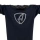 Ausschnitt Vorderansicht eines schwarzen CBe Longsleeve T-Shirts aus Bio-Baumwolle (Organic Bio T-Shirt) mit silber-glitzerdem Ammersee Design der Modemarke AMMERSEE BAVARIA aus Bayern, Deutschland