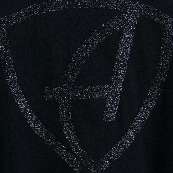 Ausschnitt Vorderansicht eines schwarzen CBe Longsleeve T-Shirts aus Bio-Baumwolle (Organic Bio T-Shirt) mit schwarz-glitzernem Ammersee Design der Modemarke AMMERSEE BAVARIA aus Bayern, Deutschland