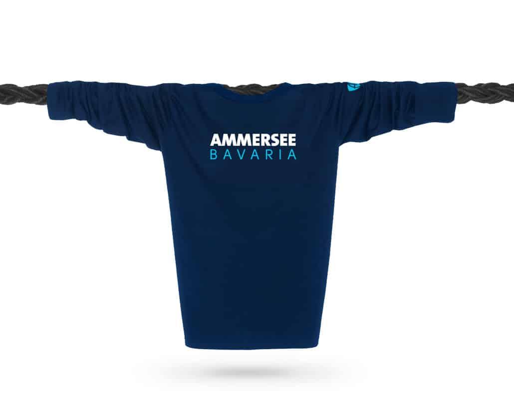 Vorderansicht eines dunkelblauen CT Longsleeve T-Shirts aus Bio-Baumwolle (Organic Bio T-Shirt) mit weiss-türkisem Ammersee Design der Modemarke AMMERSEE BAVARIA aus Bayern, Deutschland