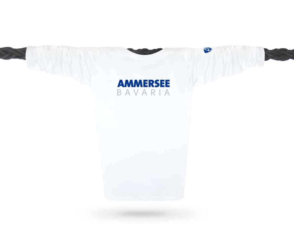 Vorderansicht eines weissen CT Longsleeve T-Shirts aus Bio-Baumwolle (Organic Bio T-Shirt) mit weiss-türkisem Ammersee Design der Modemarke AMMERSEE BAVARIA aus Bayern, Deutschland