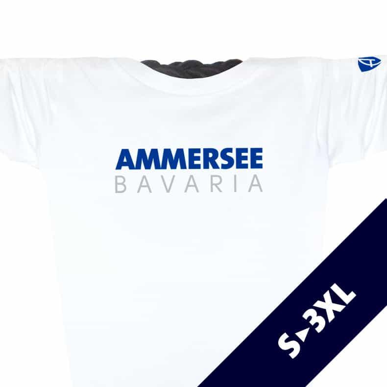 Ausschnitt Vorderansicht eines weissen CT Longsleeve T-Shirts aus Bio-Baumwolle (Organic Bio T-Shirt) mit weiss-türkisem Ammersee Design der Modemarke AMMERSEE BAVARIA aus Bayern, Deutschland