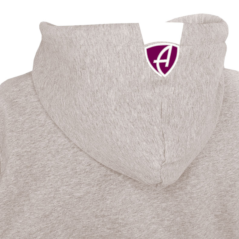 Rückansicht eines sandfarbenden CBo Kapuzenjacke und seiner Kapuze (Organic Bio Hoodie) mit weinrotem Ammersee Design der Modemarke AMMERSEE BAVARIA aus Bayern, Deutschland