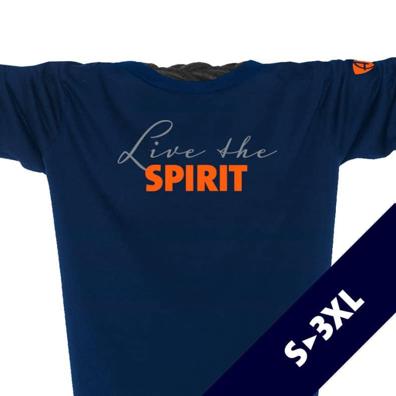 Ausschnitt Vorderansicht eines dunkelblauen ST Longsleeve T-Shirts aus Bio-Baumwolle (Organic Bio T-Shirt) mit grau-orangem Ammersee Design der Modemarke AMMERSEE BAVARIA aus Bayern, Deutschland