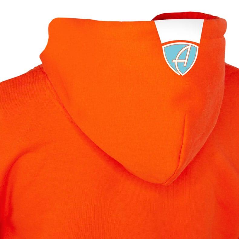 Rückansicht eines orangenen CBo Kapuzenpullover und seiner Kapuze (Organic Bio Hoodie) mit hellblauem Ammersee Design der Modemarke AMMERSEE BAVARIA aus Bayern, Deutschland