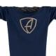 Vorderansicht eines dunkelblauen CBe Longsleeve T-Shirts aus Bio-Baumwolle (Organic Bio T-Shirt) mit gold-glitzernem Ammersee Design der Modemarke AMMERSEE BAVARIA aus Bayern, Deutschland