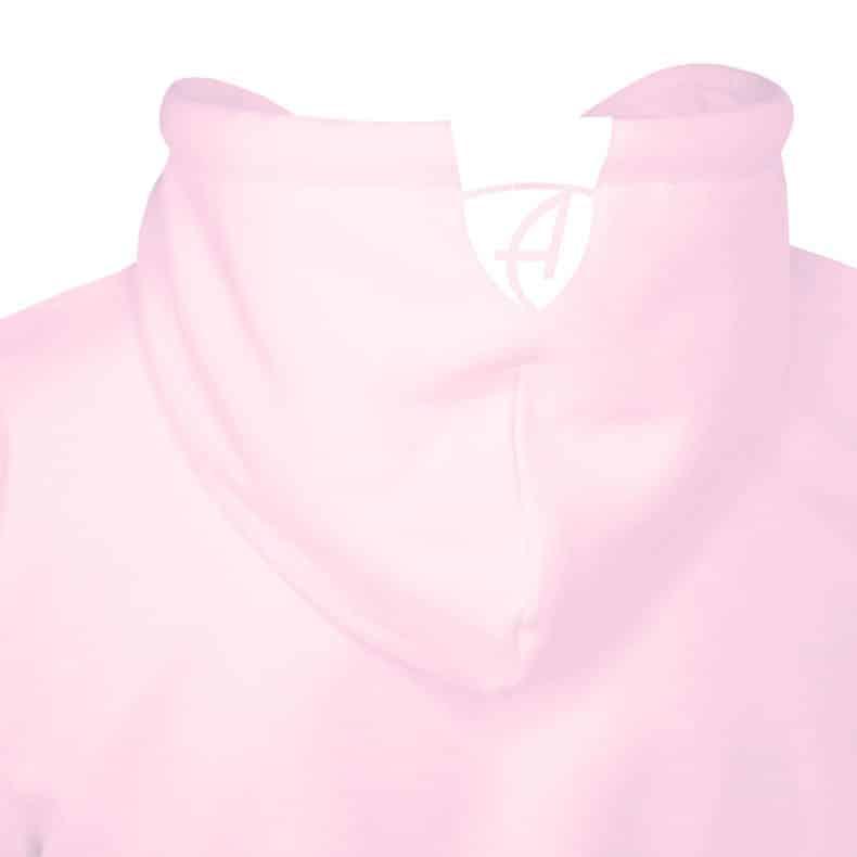 Rückansicht eines rosernen Kinder Kapuzenpullover und seiner Kapuze (Organic Bio Kids Hoodie) mit weissem Ammersee Design der Modemarke AMMERSEE BAVARIA aus Bayern, Deutschland