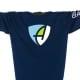 Ausschnitt Vorderansicht eines dunkelblauen CB Kinder Longsleeve aus Bio-Baumwolle (Organic Bio T-Shirt) mit hellblau-grün-weissem Ammersee Design der Modemarke AMMERSEE BAVARIA aus Bayern, Deutschland