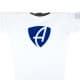 Ausschnitt Vorderansicht eines weissen CB Kinder Longsleeve aus Bio-Baumwolle (Organic Bio T-Shirt) mit royal-blauem Ammersee Design der Modemarke AMMERSEE BAVARIA aus Bayern, Deutschland