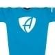 Ausschnitt Vorderansicht eines hellblauen CB Kinder T-Shirts aus Bio-Baumwolle (Organic Bio T-Shirt) mit weissem Ammersee Design der Modemarke AMMERSEE BAVARIA aus Bayern, Deutschland