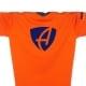 Ausschnitt Vorderansicht eines orangenen CB Kinder T-Shirts aus Bio-Baumwolle (Organic Bio T-Shirt) mit royal-blauem Ammersee Design der Modemarke AMMERSEE BAVARIA aus Bayern, Deutschland