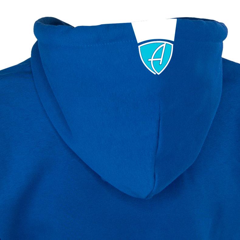 Rückansicht eines blauen CBo Kapuzenpullover und seiner Kapuze (Organic Bio Hoodie) mit weiss-türkisem Ammersee Design der Modemarke AMMERSEE BAVARIA aus Bayern, Deutschland