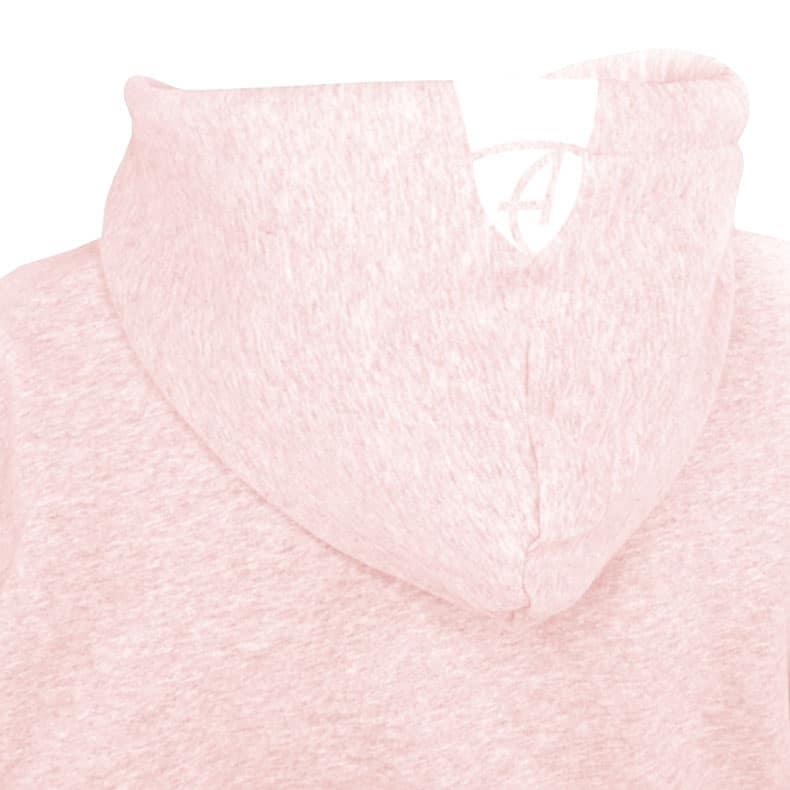 Rückansicht einer rosamelierten Kinder Kapuzenjacke und seiner Kapuze (Organic Bio Hoodie) mit weissem Ammersee Design der Modemarke AMMERSEE BAVARIA aus Bayern, Deutschland