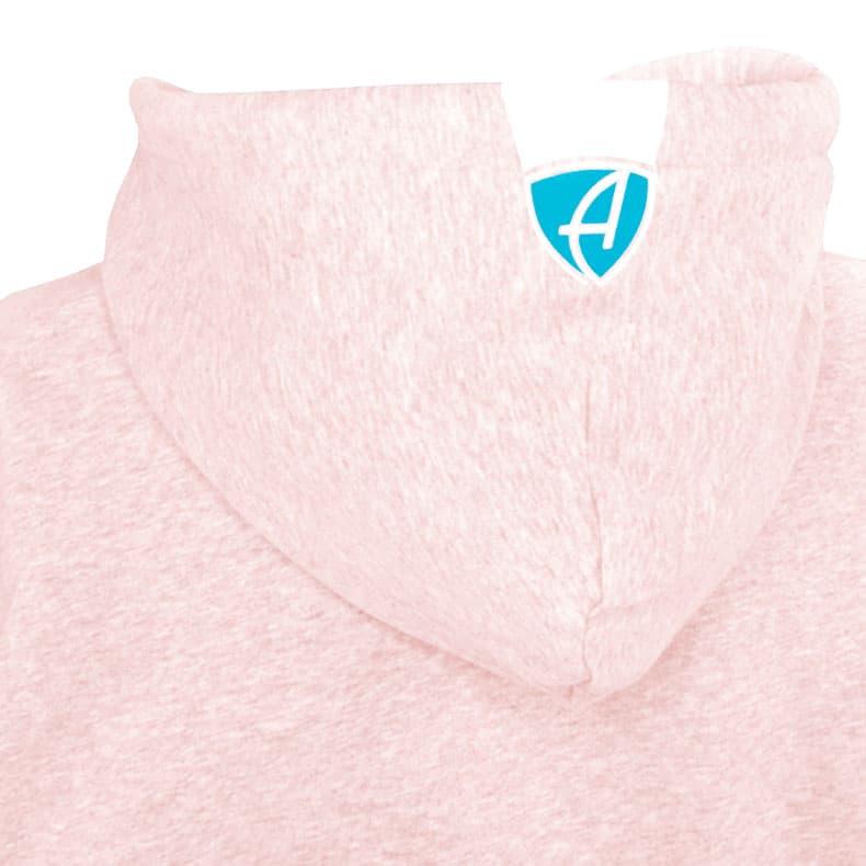 Rückansicht einer rosamelierten Kinder Kapuzenjacke und seiner Kapuze (Organic Bio Hoodie) mit türkis-weissem Ammersee Design der Modemarke AMMERSEE BAVARIA aus Bayern, Deutschland