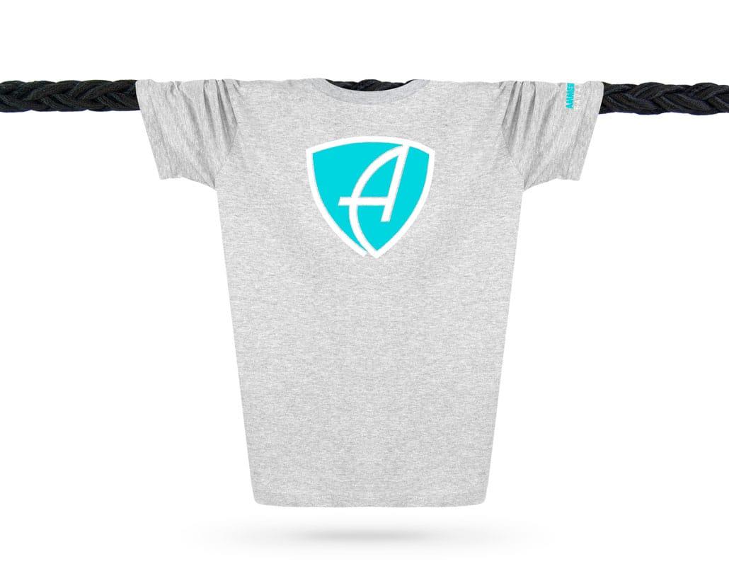 Vorderansicht eines hellgrauen CBo T-Shirts aus Bio-Baumwolle (Organic Bio T-Shirt) mit türkis-weissem Ammersee Design der Modemarke AMMERSEE BAVARIA aus Bayern, Deutschland