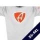Ausschnitt Vorderansicht eines hellgrauen CBo T-Shirts aus Bio-Baumwolle (Organic Bio T-Shirt) mit orange-weissem Ammersee Design der Modemarke AMMERSEE BAVARIA aus Bayern, Deutschland