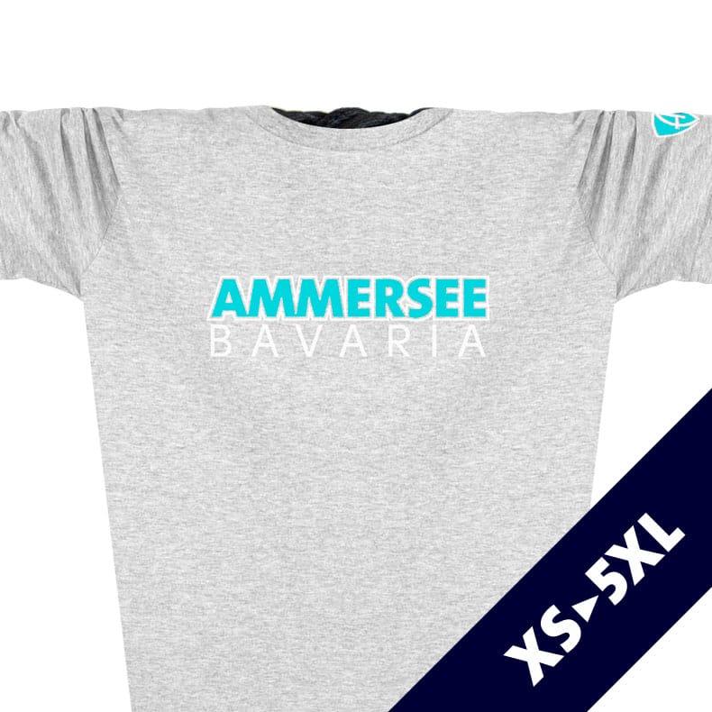 Ausschnitt Vorderansicht eines hellgrauen CTo T-Shirts aus Bio-Baumwolle (Organic Bio T-Shirt) mit türkis-weissem Ammersee Design der Modemarke AMMERSEE BAVARIA aus Bayern, Deutschland