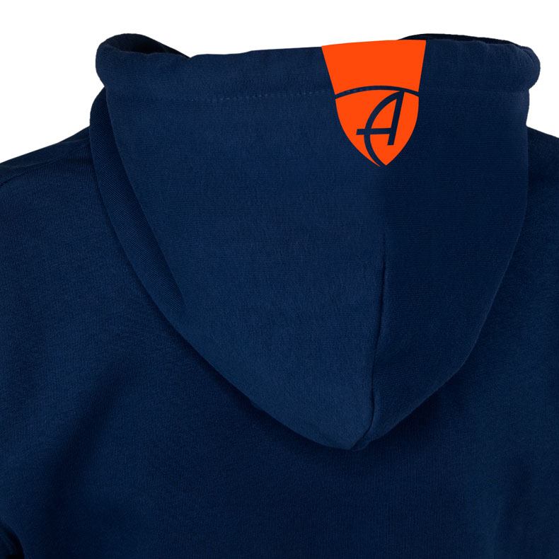 Rückansicht eines dunkelblauen Kapuzenjacke und seiner Kapuze (Organic Bio Hoodie) mit orangenem Ammersee Design der Modemarke AMMERSEE BAVARIA aus Bayern, Deutschland