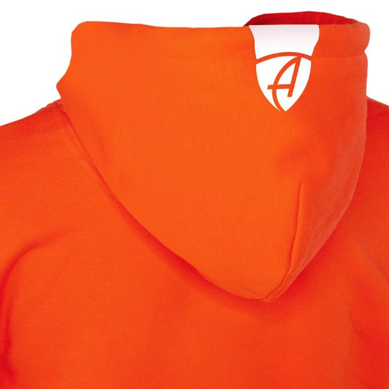 Rückansicht eines orangenen SB Kapuzenpullover und seiner Kapuze (Organic Bio Hoodie) mit weissem Ammersee Design der Modemarke AMMERSEE BAVARIA aus Bayern, Deutschland