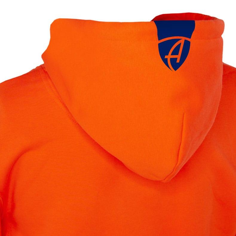 Rückansicht eines orangenen Kapuzenpullover und seiner Kapuze (Organic Bio Hoodie) mit blauem Ammersee Design der Modemarke AMMERSEE BAVARIA aus Bayern, Deutschland