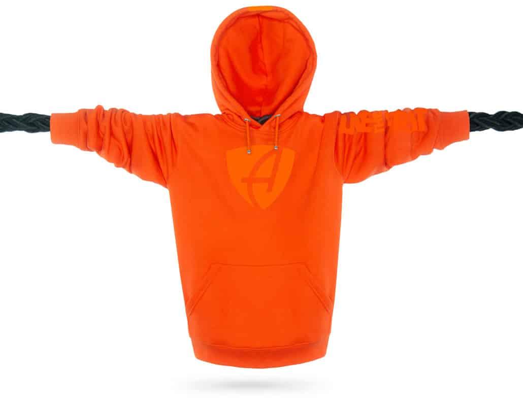 Vorderansicht eines orangenen SB Kapuzenpullover aus Bio-Baumwolle (Organic Bio Hoodie) und recyceltem Polyester mit orangenem Ammersee Design der Modemarke AMMERSEE BAVARIA aus Bayern, Deutschland